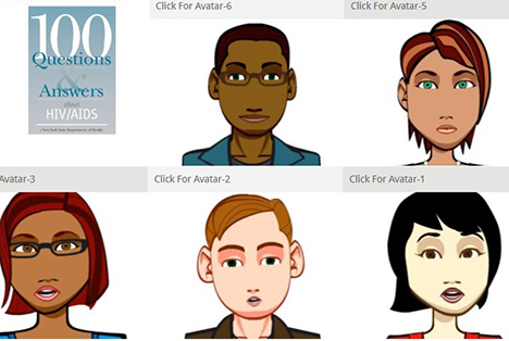 Users can choose one of eight avatars to hear responses to 100 common questions about HIV/AIDS.