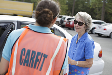 Trained occupational therapy students  from the University of Florida led Gainesville resident Elaine Gray through a 12-point checklist. Students also made recommendations for personal vehicle adjustments and adaptations to maximize comfort and safety in her car.