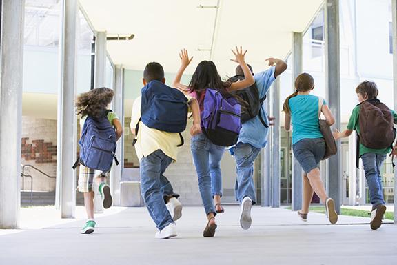 kids running at school