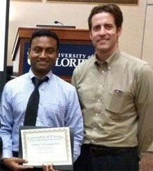 Jay Nair with his mentor Dr. David Fuller, director of the rehabilitation science doctoral program and a professor in the department of physical therapy.
