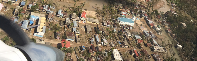 Aerial view of Baradères after Hurricane Matthew.