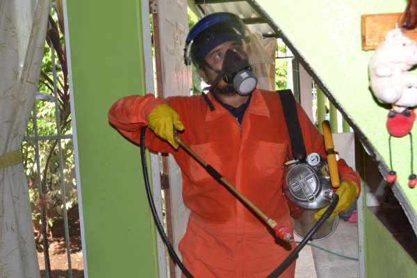 worker sprays for mosquitoes