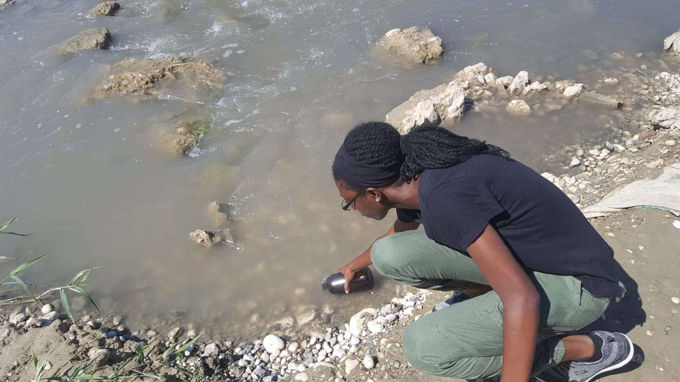 water sampling in Haiti