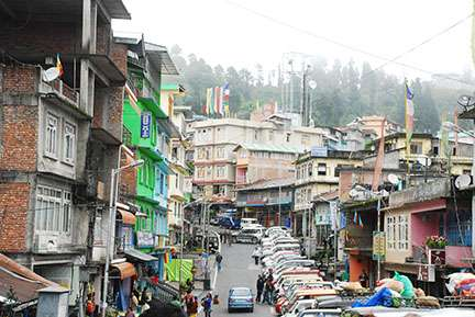 The town of Rabongla in the state of Sikkim.